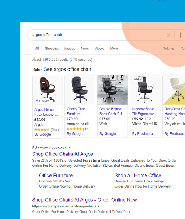 Example of Google local inventory ads for Argos